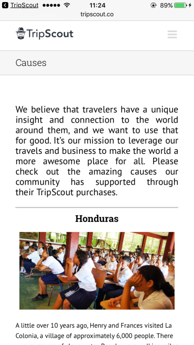 TripScout Causes Section